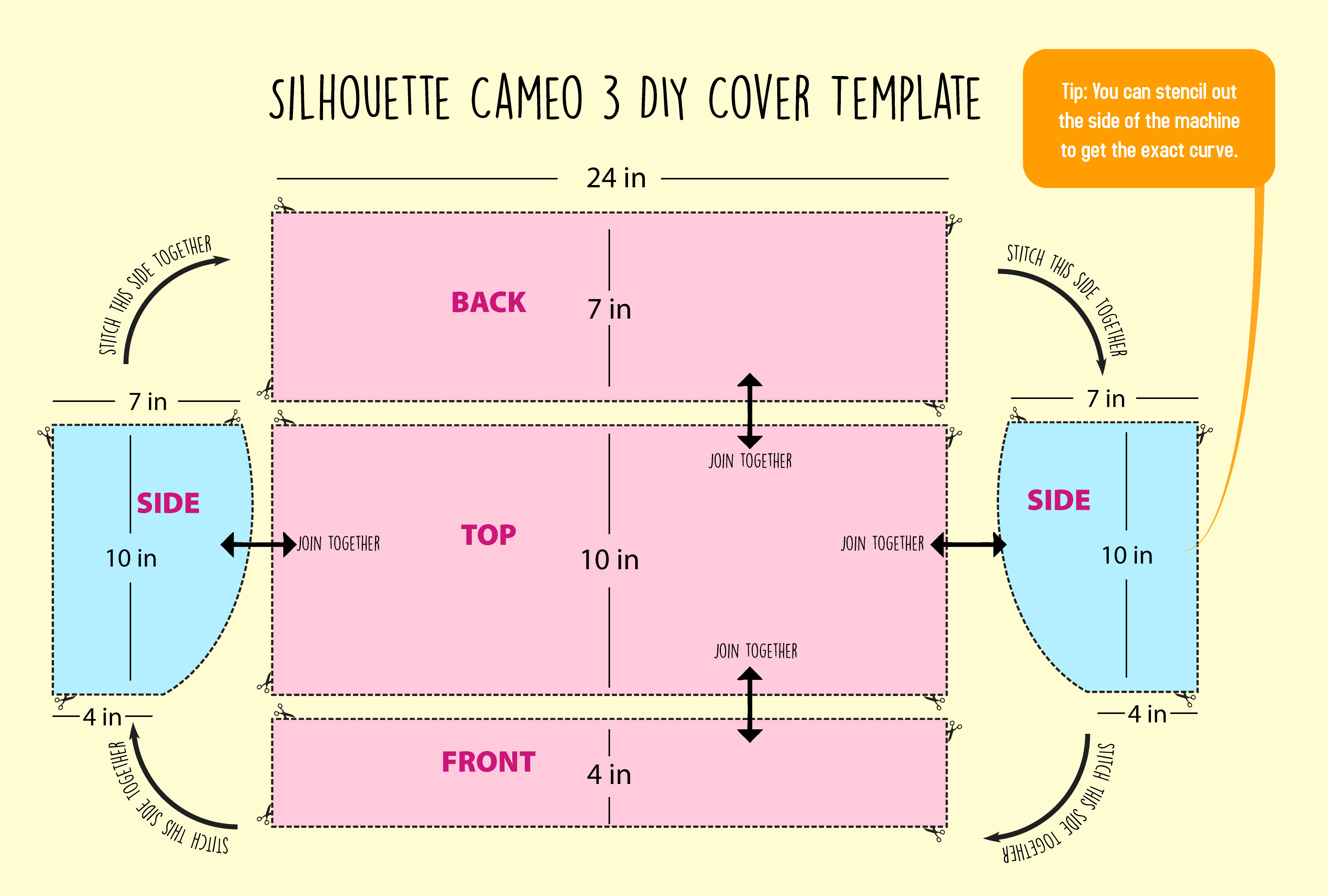 DIY Silhouette Cameo 3 Dust Cover Template