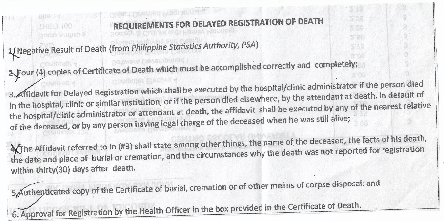 Cainta Requirements Delayed Registration Death
